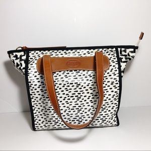 Fossil PVC coated Tote With Leather Straps